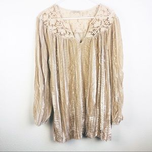 Soft Surroundings | Crushed Velvet Lace Blouse Top